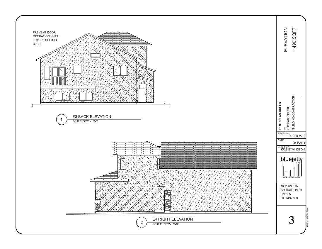Plan Elevation Questions : Construction plan bluejetty home design saskatoon