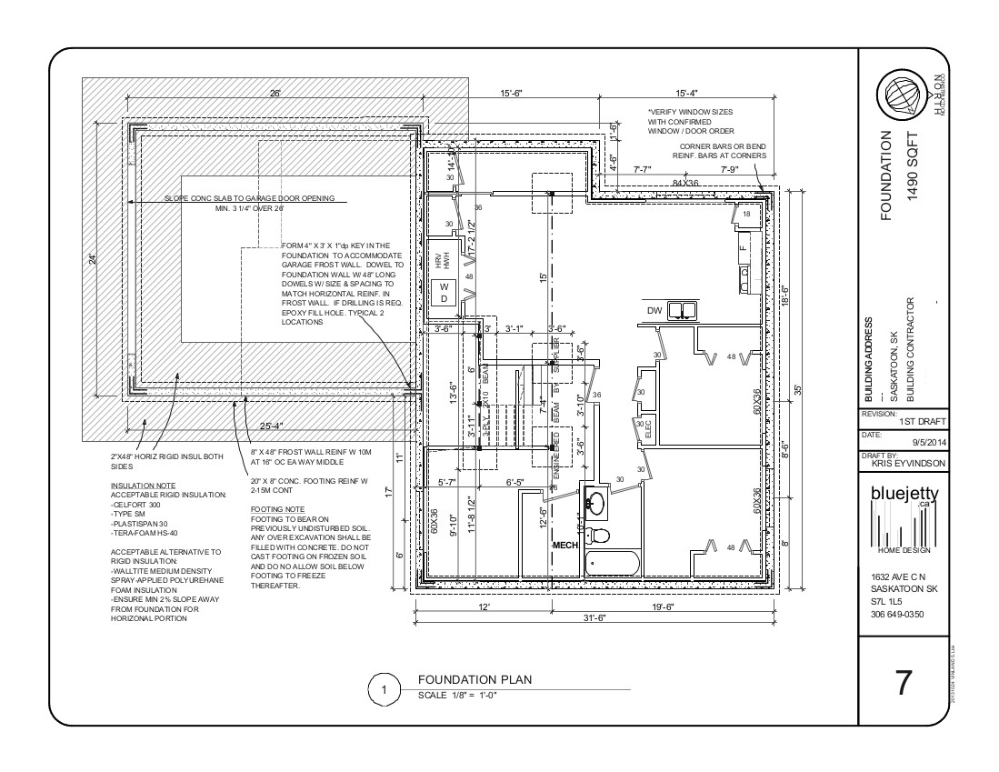 Construction plan home design saskatoon for Foundation blueprints