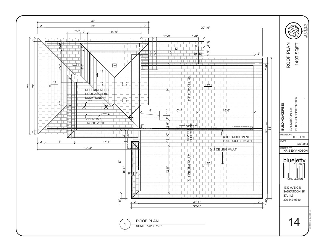 Roof plan modified bi level example floor plan drawings for Construction plan drawing